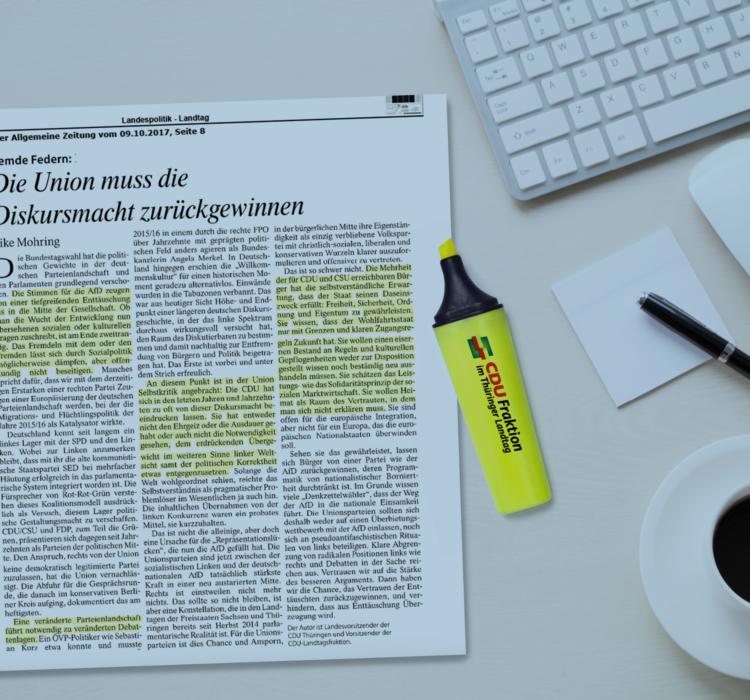 Gastbeitrag von Mike Mohring in der Frankfurter Allgemeine Zeitung vom 09.10.