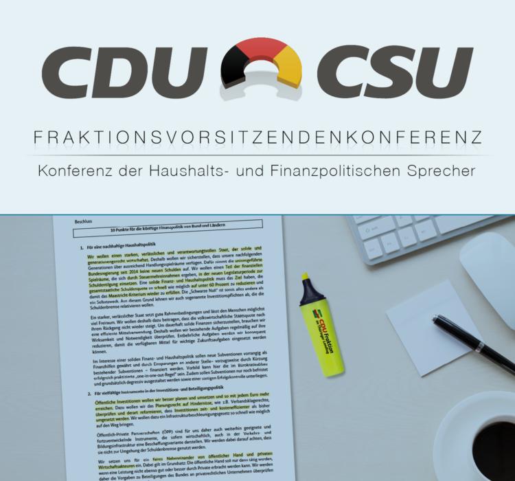 Unionspolitiker beschließen Punkte für Haushalts- und Finanzpolitik von Bund und Ländern