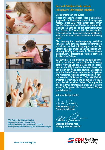 Lernort Förderschule neben inklusivem Unterricht erhalten