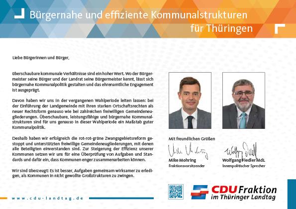 Bürgernahe und effiziente Kommunalstrukturen für Thüringen
