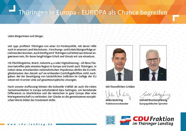 Thüringen in Europa - EUROPA als Chance begreifen