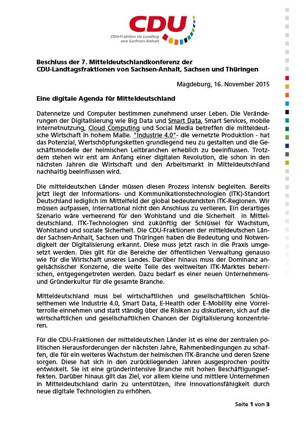 Beschluss der 7. Mitteldeutschlandkonferenz der CDU-Landtagsfraktionen von Sachsen-Anhalt, Sachsen und Thüringen