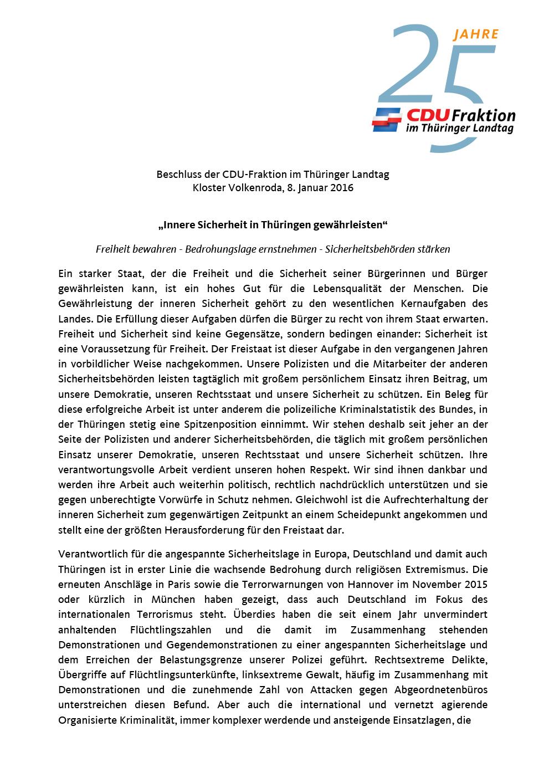 Beschluss der CDU-Fraktion im Thüringer Landtag Kloster Volkenroda