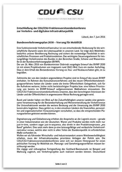 Entschließung FVK zum Bundesverkehrswegeplan 2030 - Vorrang zur Mobilität
