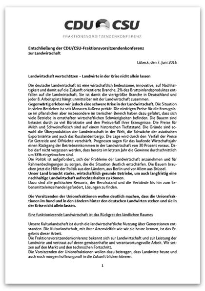 Entschließung FVK zur Landwirtschaft